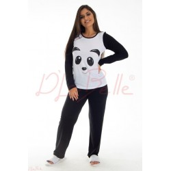 Pijama Panda Manga Longa Adulto (0270618)